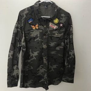 Army button down shirt with patches